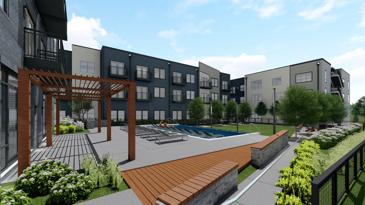 Flats at Silo Bend courtyard rendering