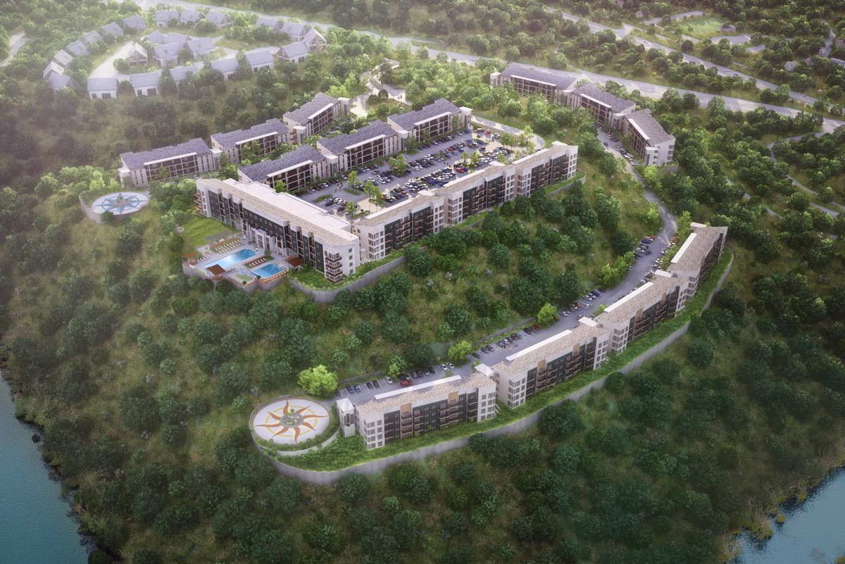 aerial rendering of Bells Bluff multi-family design project