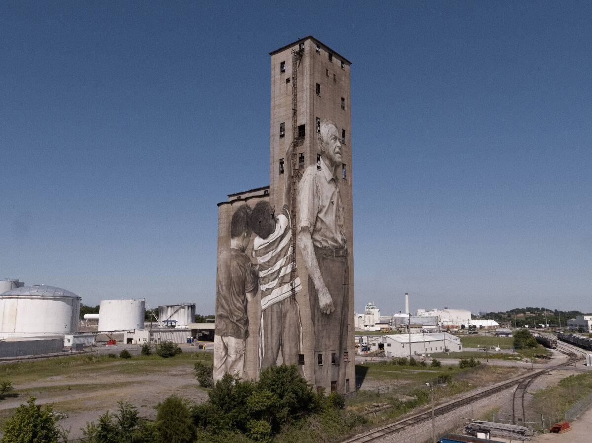the silo at Silo Bend showcases a mural by Guido van Helten