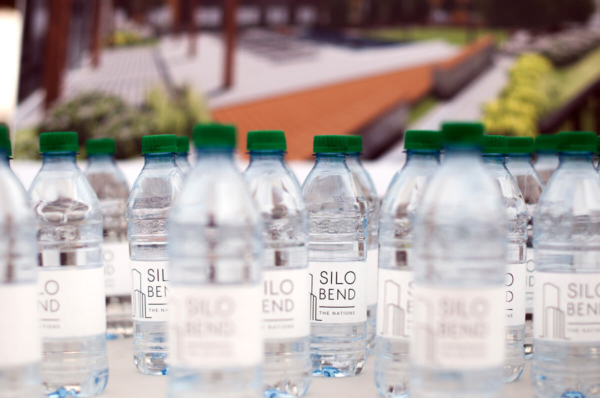 water bottles with a Silo Bend branded label