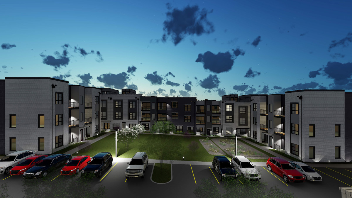 Southgate flats apartments wedgewood houston courtyard night view
